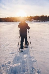 snowshoeing into the sunset
