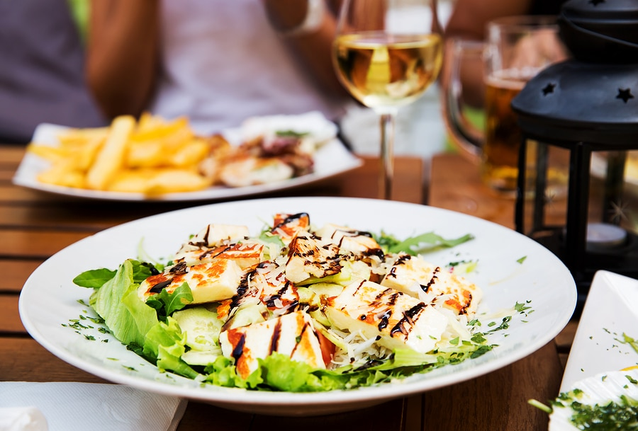 Close-up salad at a Laconia Restaurant