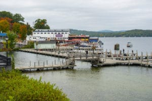 Yachts at Winnipesaukee Pier in Weirs Beach on Lake Winnipesaukee